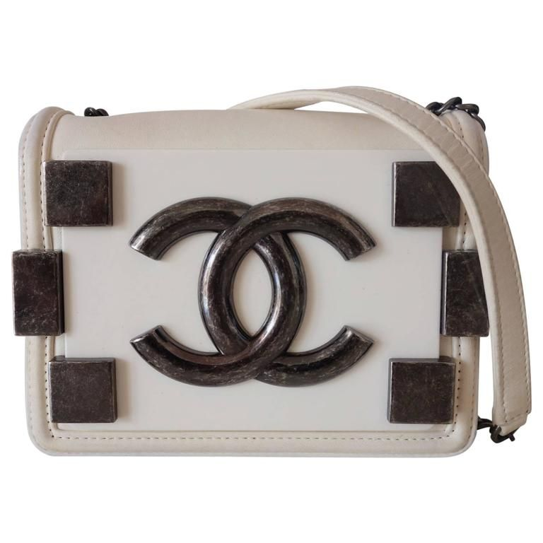 d9a2b53a69ca Chanel Boy Brick Lego Flap Bag White Leather 2 ways RARE