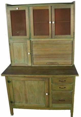 Oak Hoosier style kitchen Cabinet green stained with flour bin and ...
