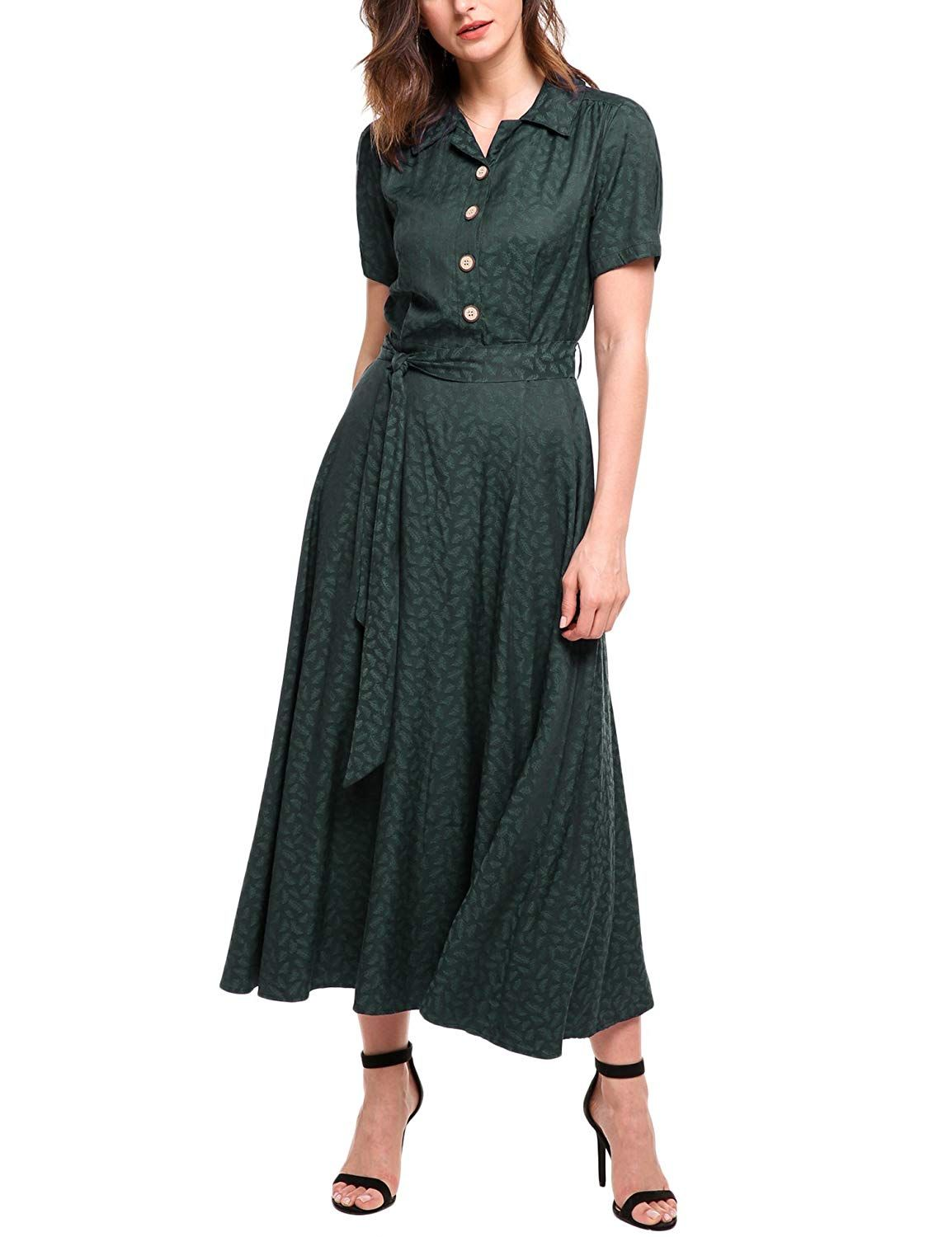 2019 Spring Women Fashion Dot Print Chiffon Cardigan Dress Vintage Long Sleeve Turn-down Collar Elegant Party Dresses Vestidos Elegant Shape Women's Clothing
