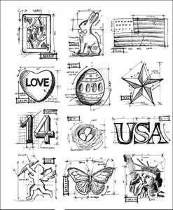 Tim holtz cling rubber stamps mini blueprints 2 stampers anonymous tim holtz cling rubber stamps mini blueprints 2 stampers anonymous malvernweather Images