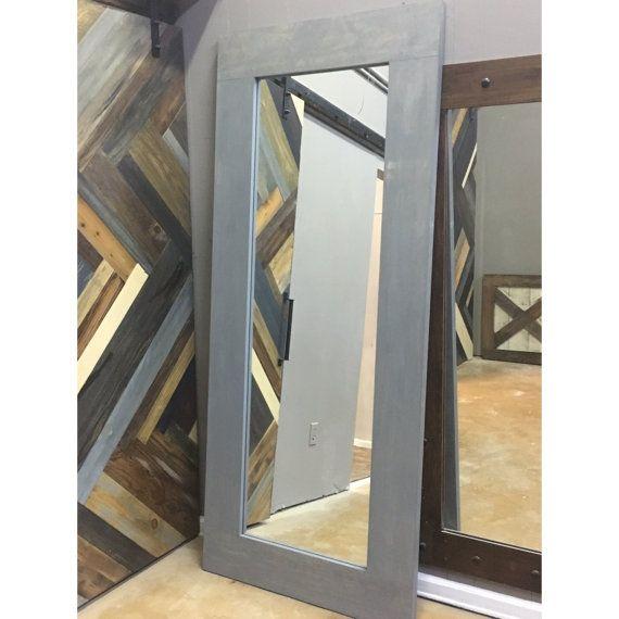 Vintage Gray Framed Mirror Sliding Barn Door by Rustic Luxe ...