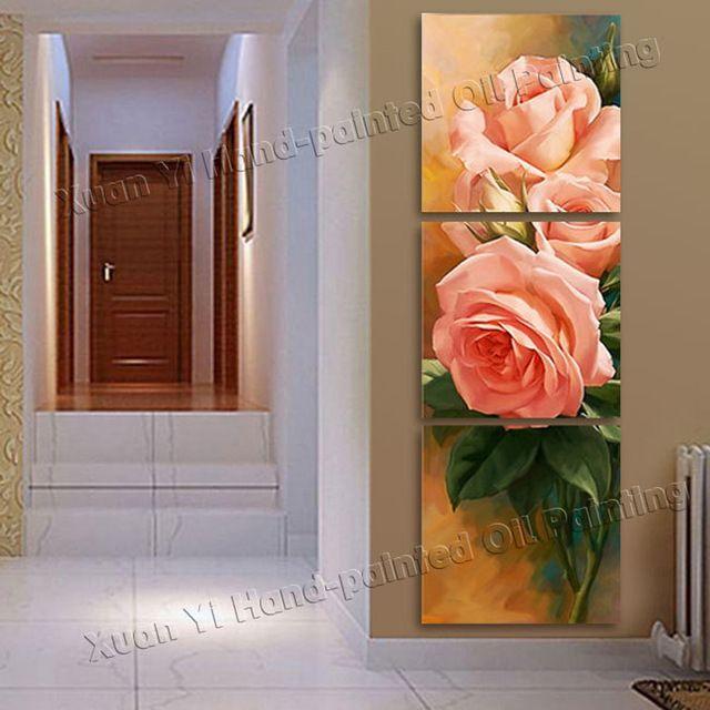 3 Panel de la Lona de La Flor Roja Pintura Al Óleo Cuadros ...