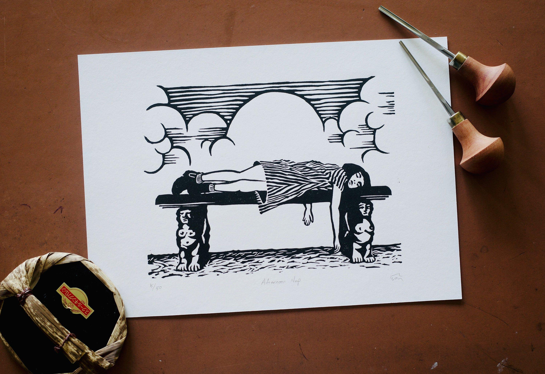 Handmade Original Linocut Print A4 Size Wall Art Etsy Linocut Prints Linocut Etsy Wall Art