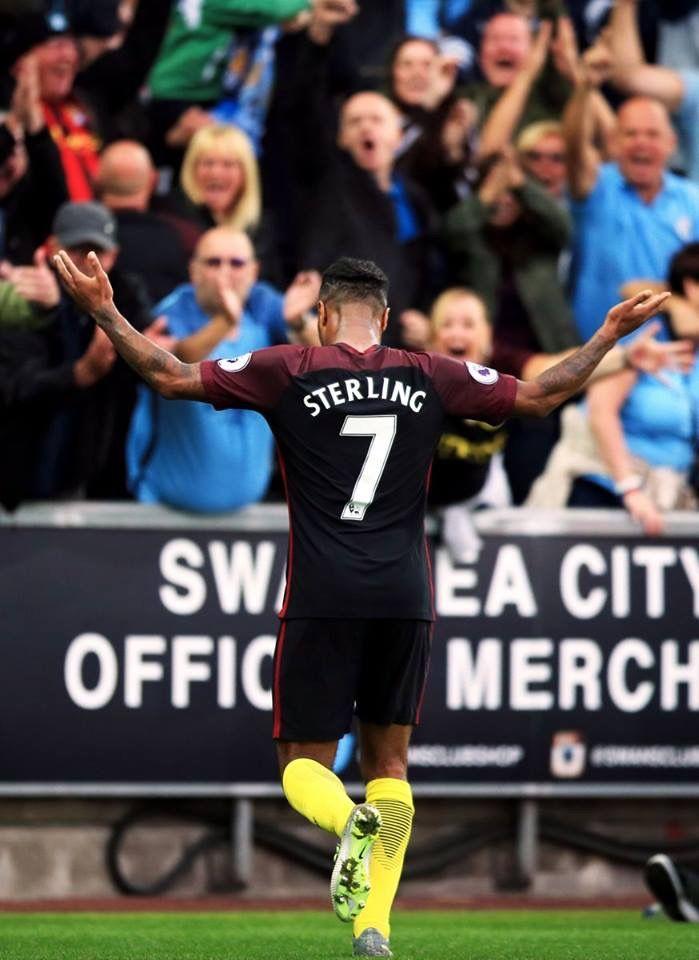 Raheem Celebrates A Goal Against Swansea Manchester City