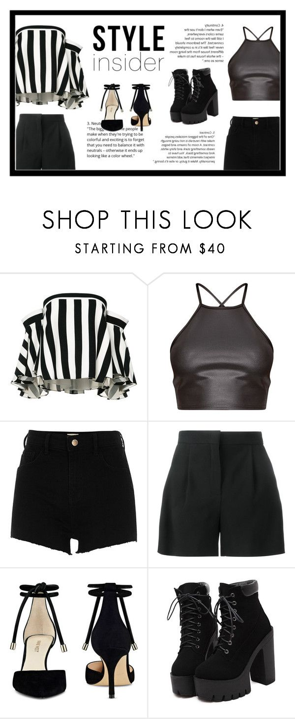 """Black&white"" by fkbianka ❤ liked on Polyvore featuring Milly, River Island, Alberta Ferretti, Nine West, simple, stripes and blackandwhite"