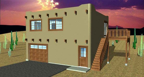 Southwest Style House Plan 99941 With 1 Bed 1 Bath 2 Car Garage Southwest House Guest House Plans House Plans