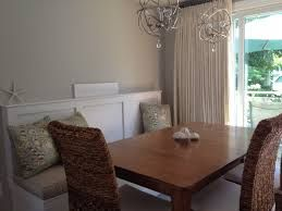 Dining Table With High Back Bench Banquette Feat Rattan Chairs And Rectangular Brown Wooden As Well Narrow Plus Round