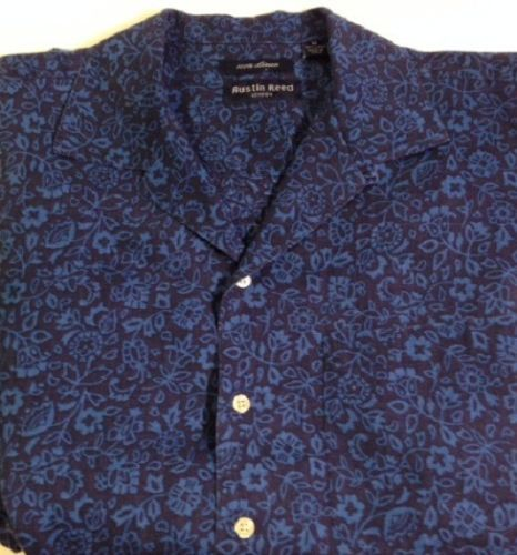 Austin Reed 100% linen camp shirt MEDIUM floral Hawaiian short sleeve