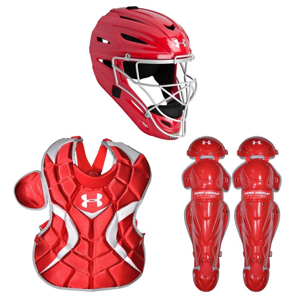 Under Armour Victory Youth Baseball Catchers Gear Set Red Baseball