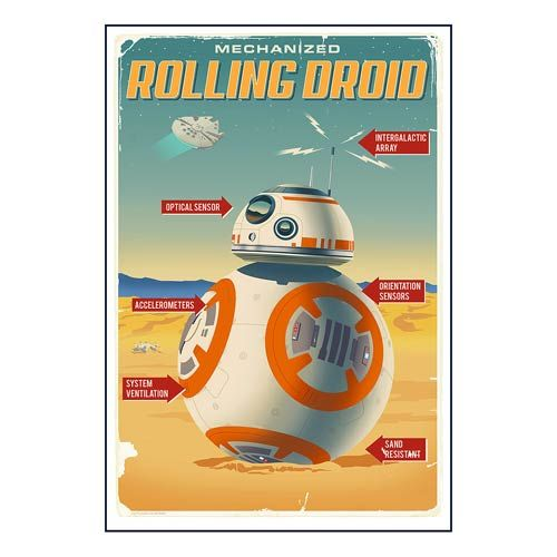 this star wars episode vii the force awakens rolling droid advertisement poster paper giclee print advertises the rolling droid i would buy a
