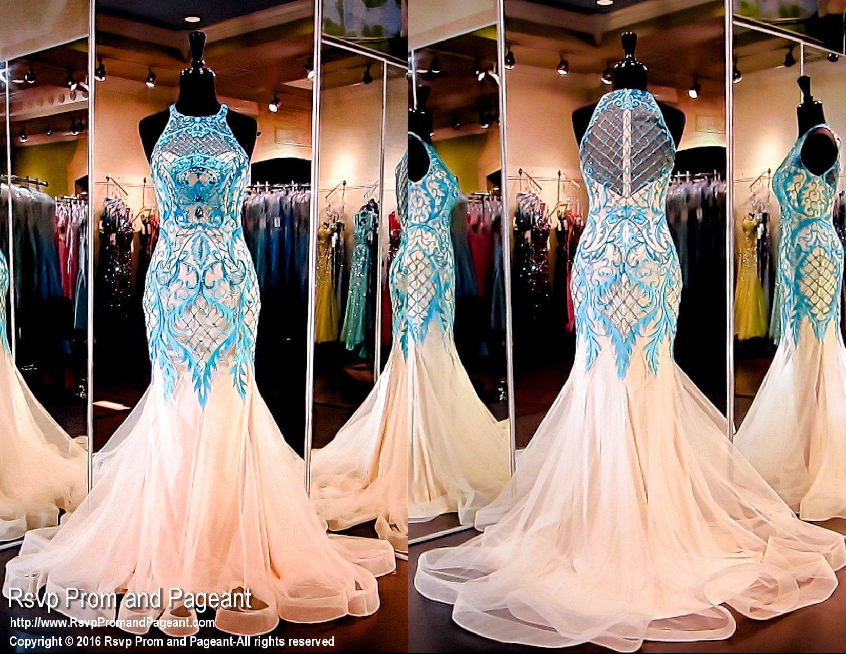 Ivory mint mermaid prom dresslacechoker necklineillusion back