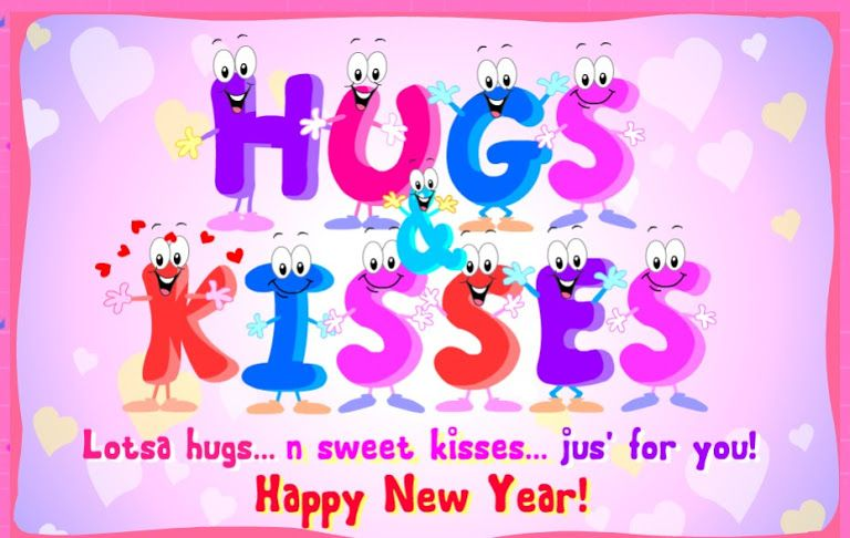 Hugs Kisses New Year Love Wishes Card Happy New Year