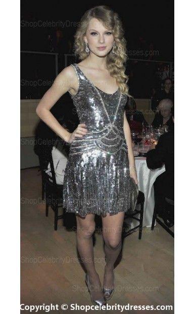Taylor Swift's sparkle in an eye-catching tank dress(SCD717)