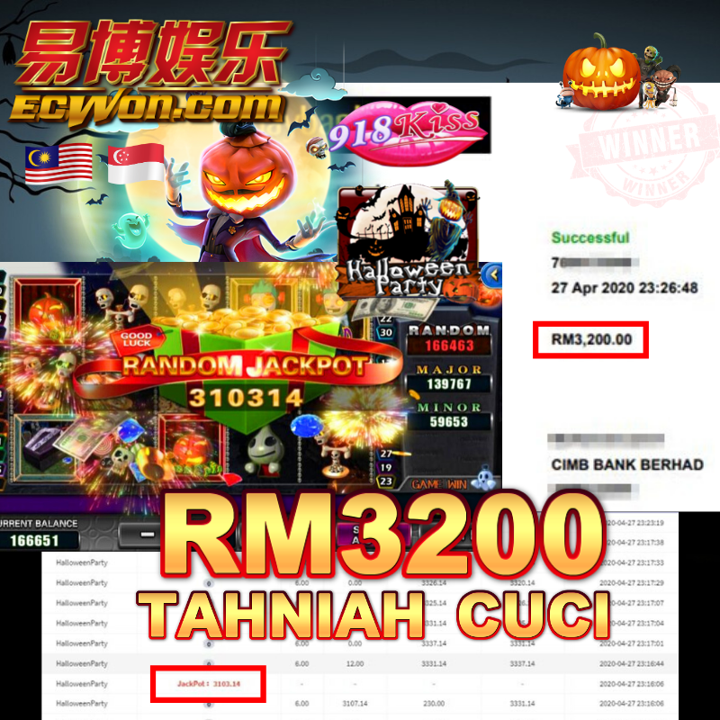 Ecwon 918kiss Winreceipt Jackpot Halloweenparty Slotgames Winrm3200 Online Casino Doubledown Casino Slots Games