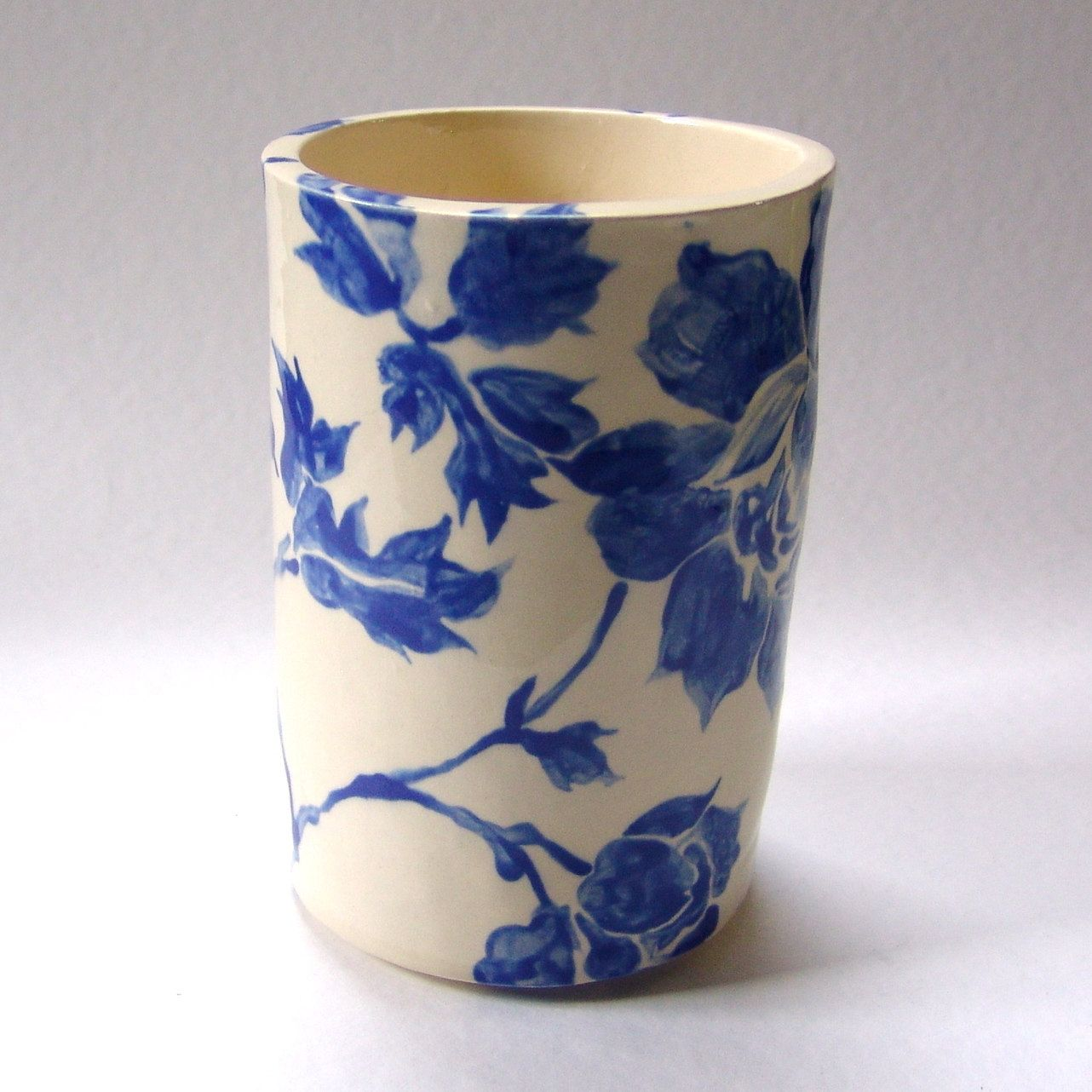 delft blue floral pottery kitchen utensil holder home decor