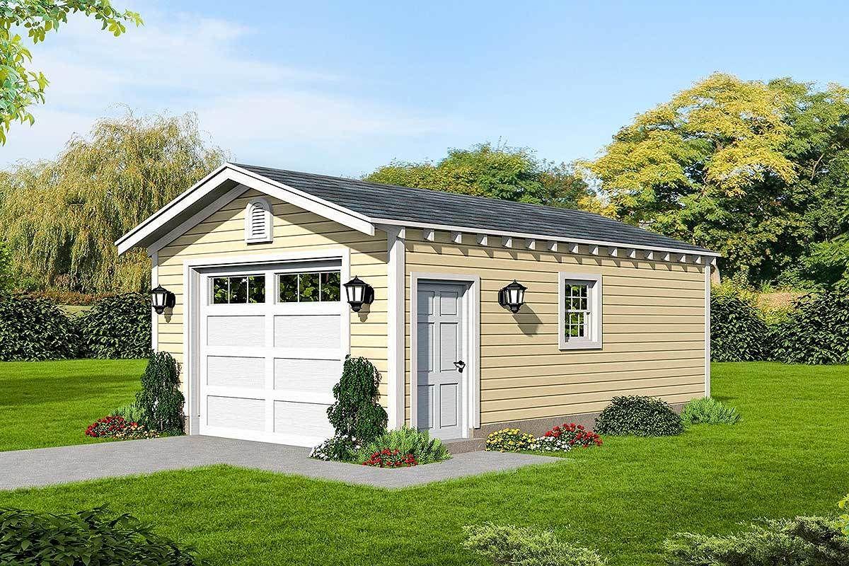 Plan 68543vr Simple Single Car Garage Plan In 2020 Garage Plans Detached Garage Plan Garage Plans