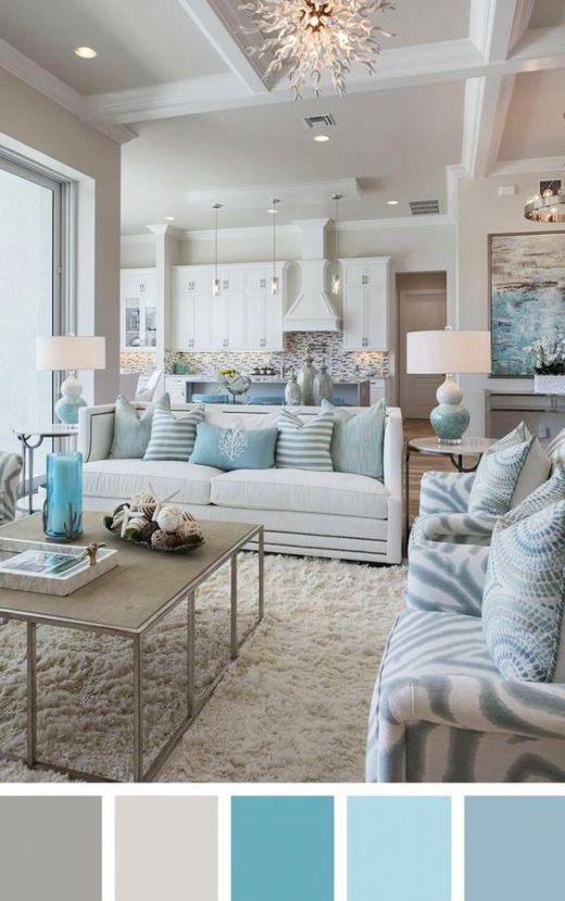 Classic Coastal Beach Color Palettes Living Room Decor Ideas #coastallivingrooms