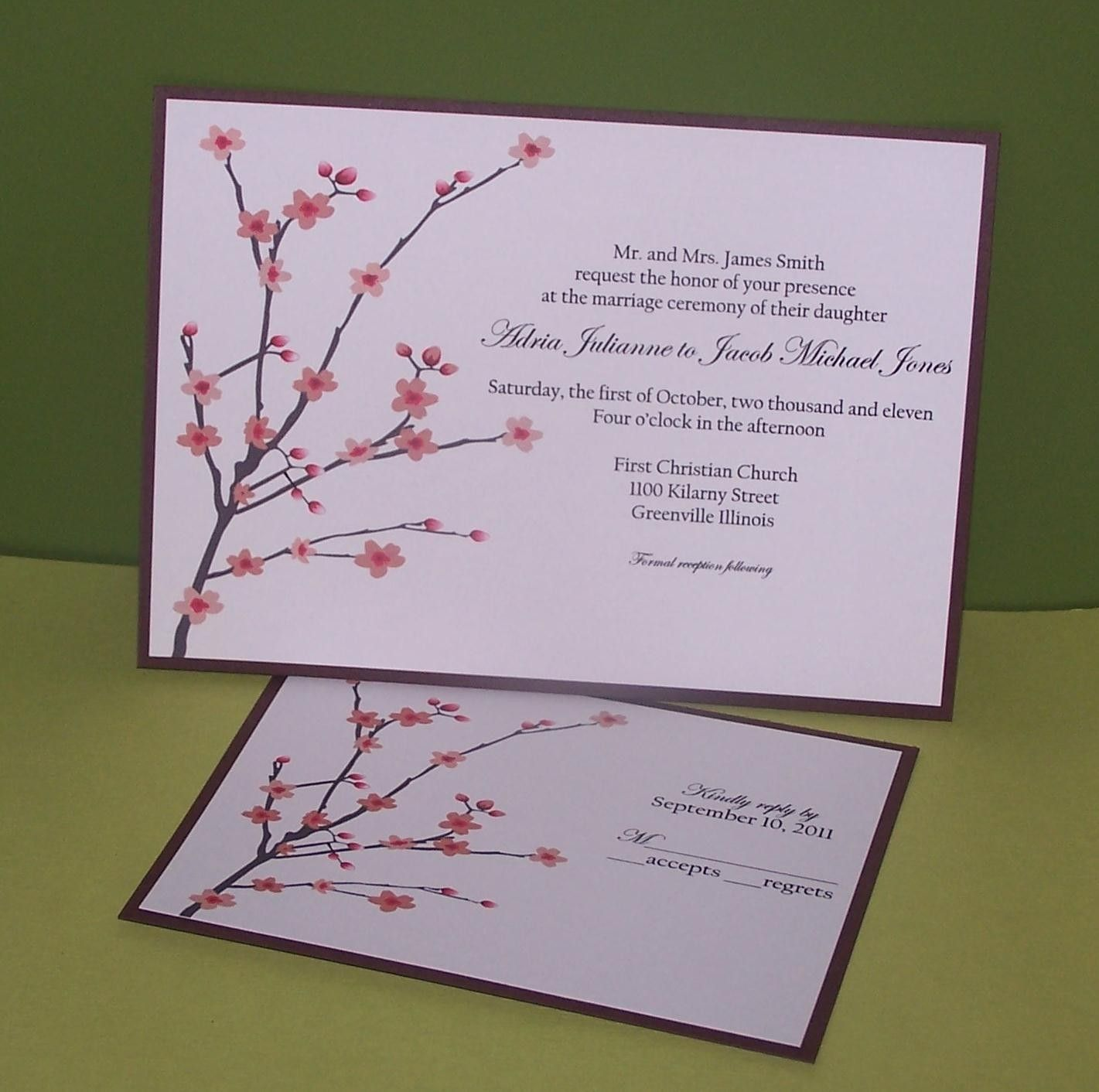 Personalized Wedding invitations Cherry Blossom SAMPLE. $3.00, via ...