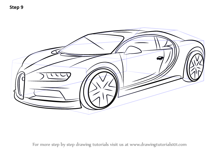 Learn How To Draw Bugatti Chiron Sports Cars Step By Step Drawing Tutorials Bugatti Chiron Race Car Coloring Pages Car Drawings