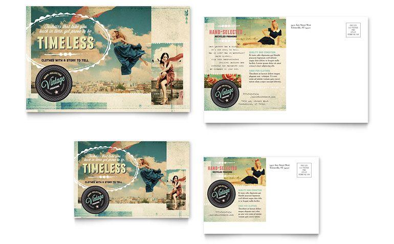 Vintage Clothing Postcard Design | Direct Mail design inspiration ...