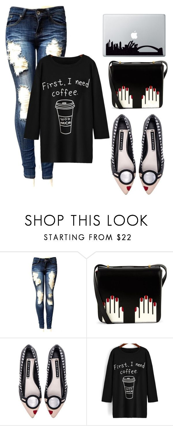 """""""Working Girl"""" by thebittenbride ❤ liked on Polyvore featuring Lulu Guinness, Alice + Olivia, jeans and laptop"""