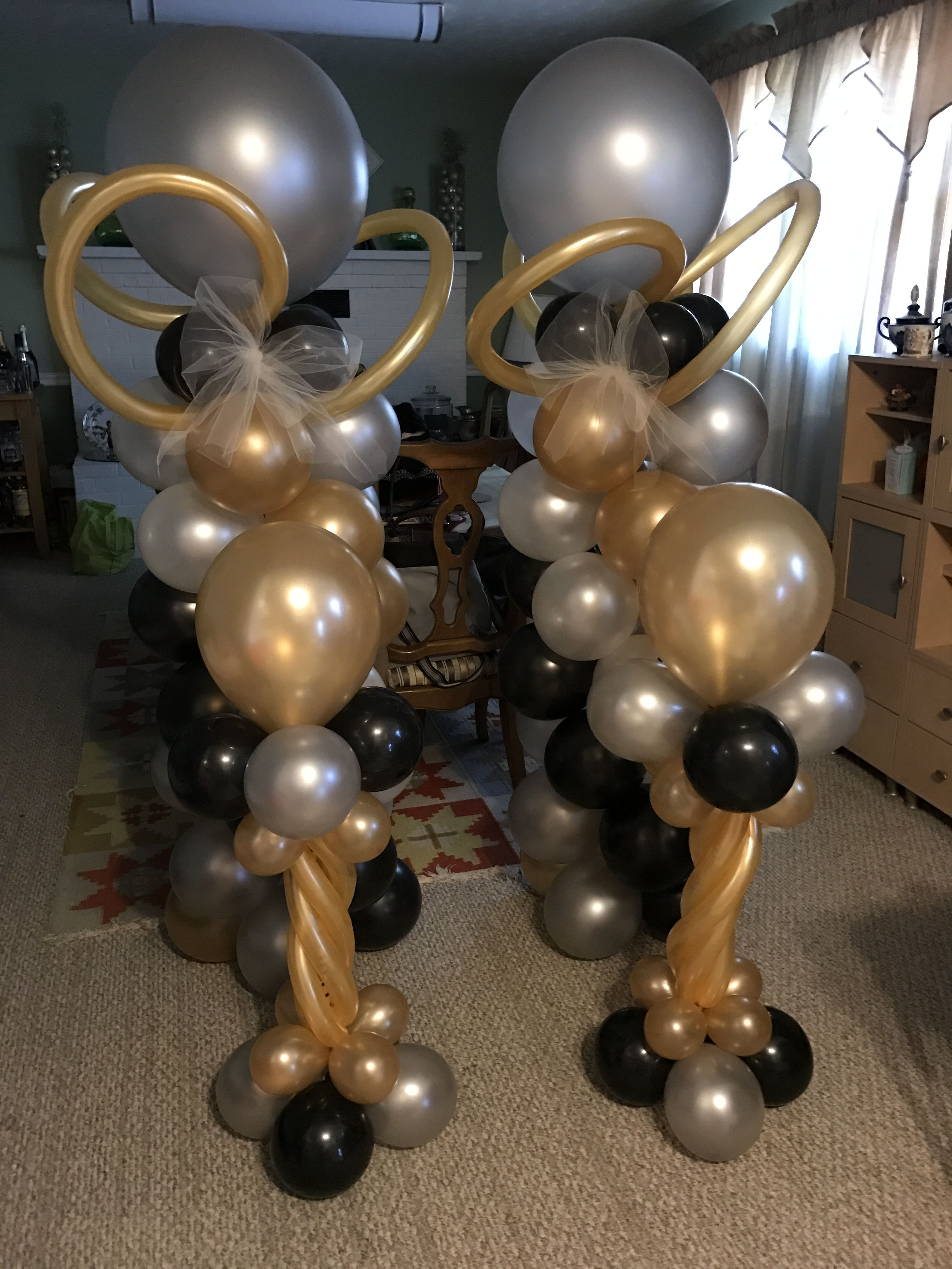 Gold Silver White Black Balloon Stand Silver Party Decorations Black And White Balloons Balloon Stands