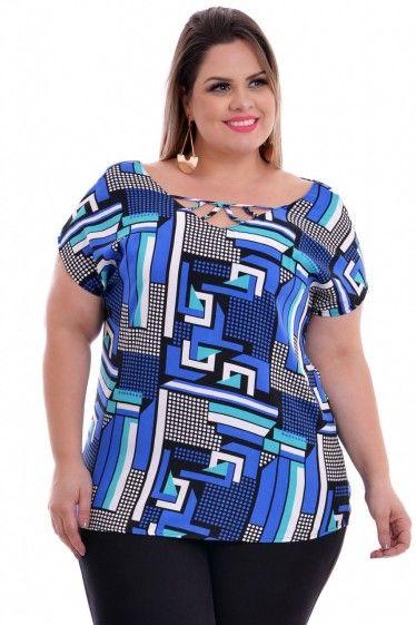 f05180d150d Blusa Plus Size Geometric Royal Blusa Pluz Size