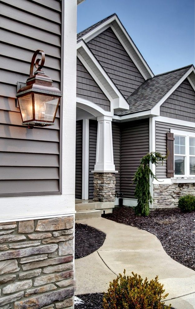Siding Color Ideas With Residential Construction Front Entrance Porch Red Gray House Exterior House Paint Exterior Exterior House Colors