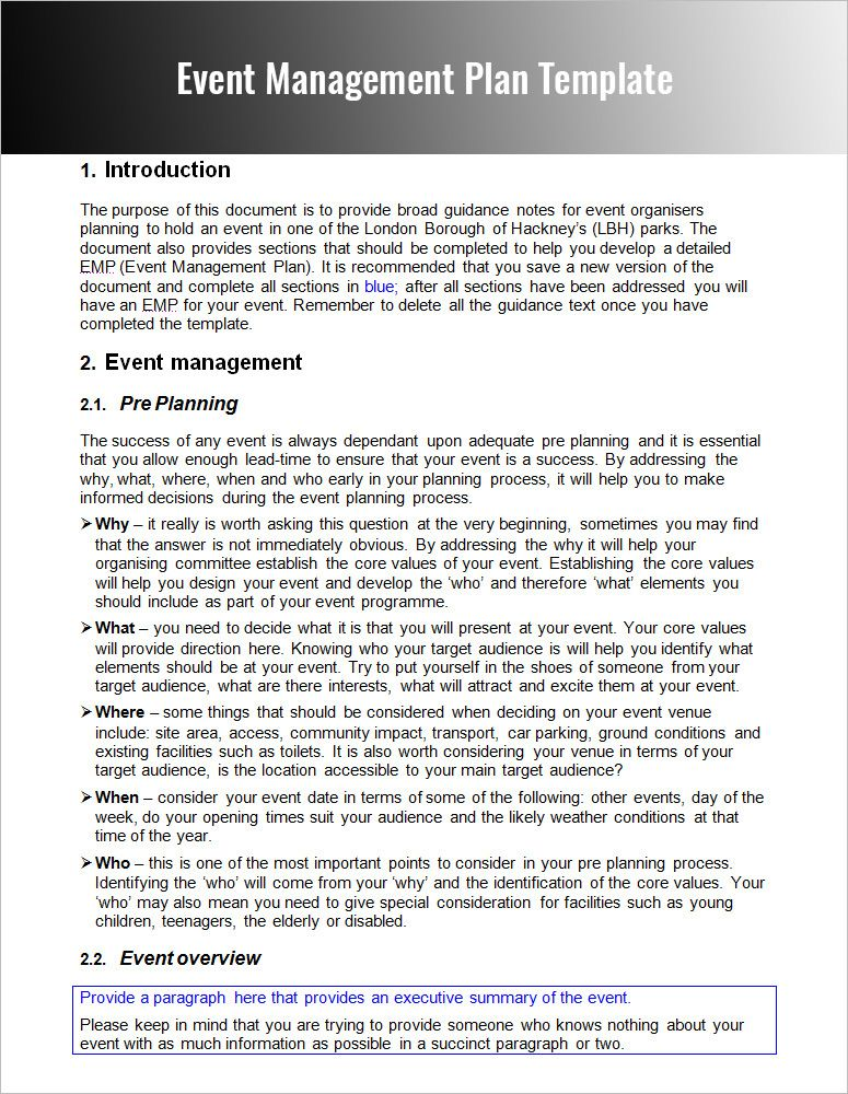 Example of Event Management Plan Blue Rose Event Management - management summary template
