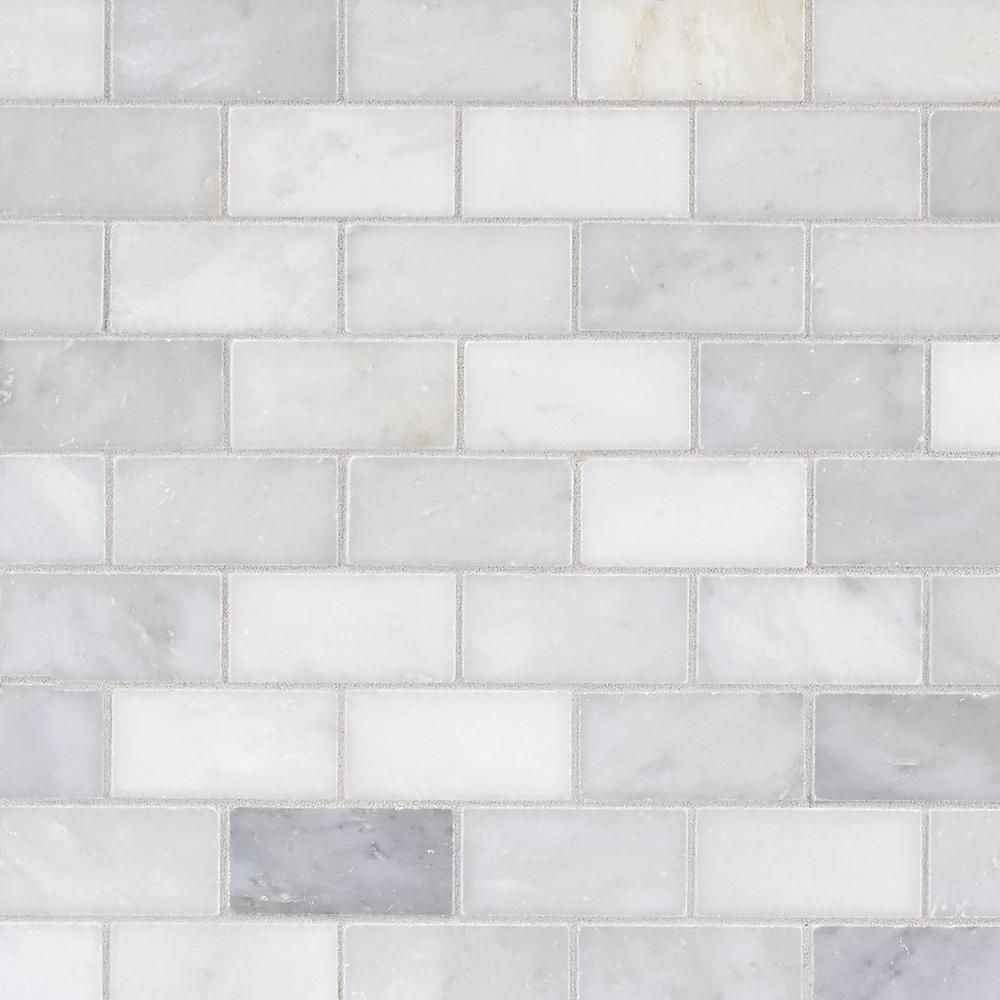 Carrara White Brick Marble Mosaic Floor Decor White Brick Honed Marble Tiles Marble Mosaic Floor