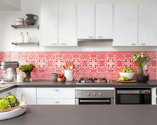 love, love, love the wallpaper under glass backsplash!   kitchen