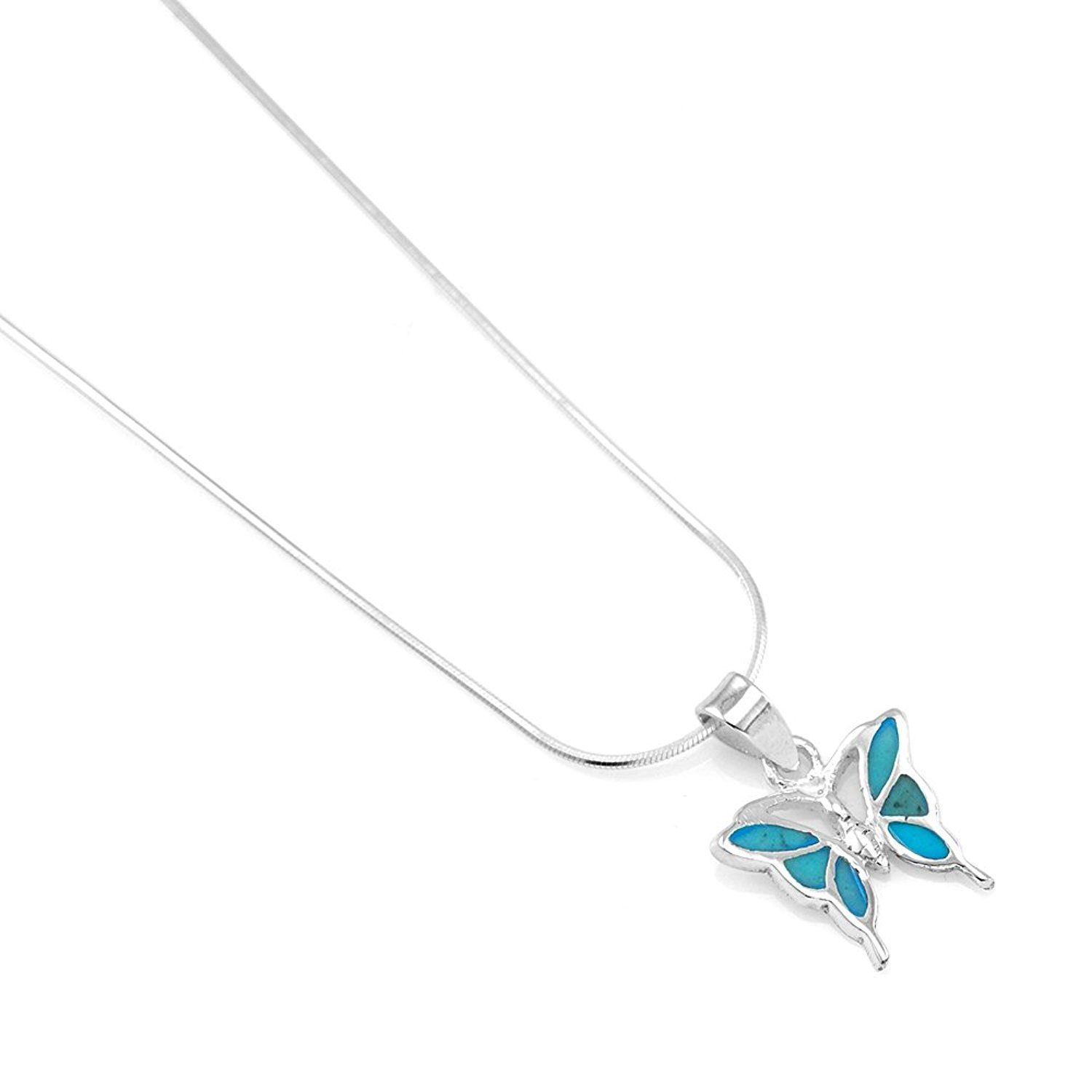 925 Sterling Silver With Turquoise Inlay Small Butterfly Charm