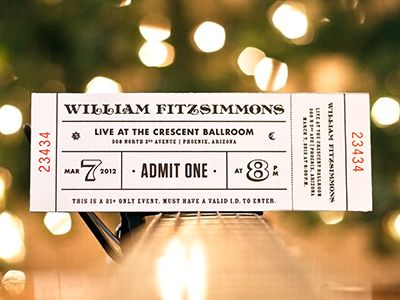 william fitzsimmons concert ticket ticket design pinterest