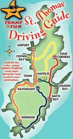 tommy fish driving guide map of st thomas usvi color coded driving routes