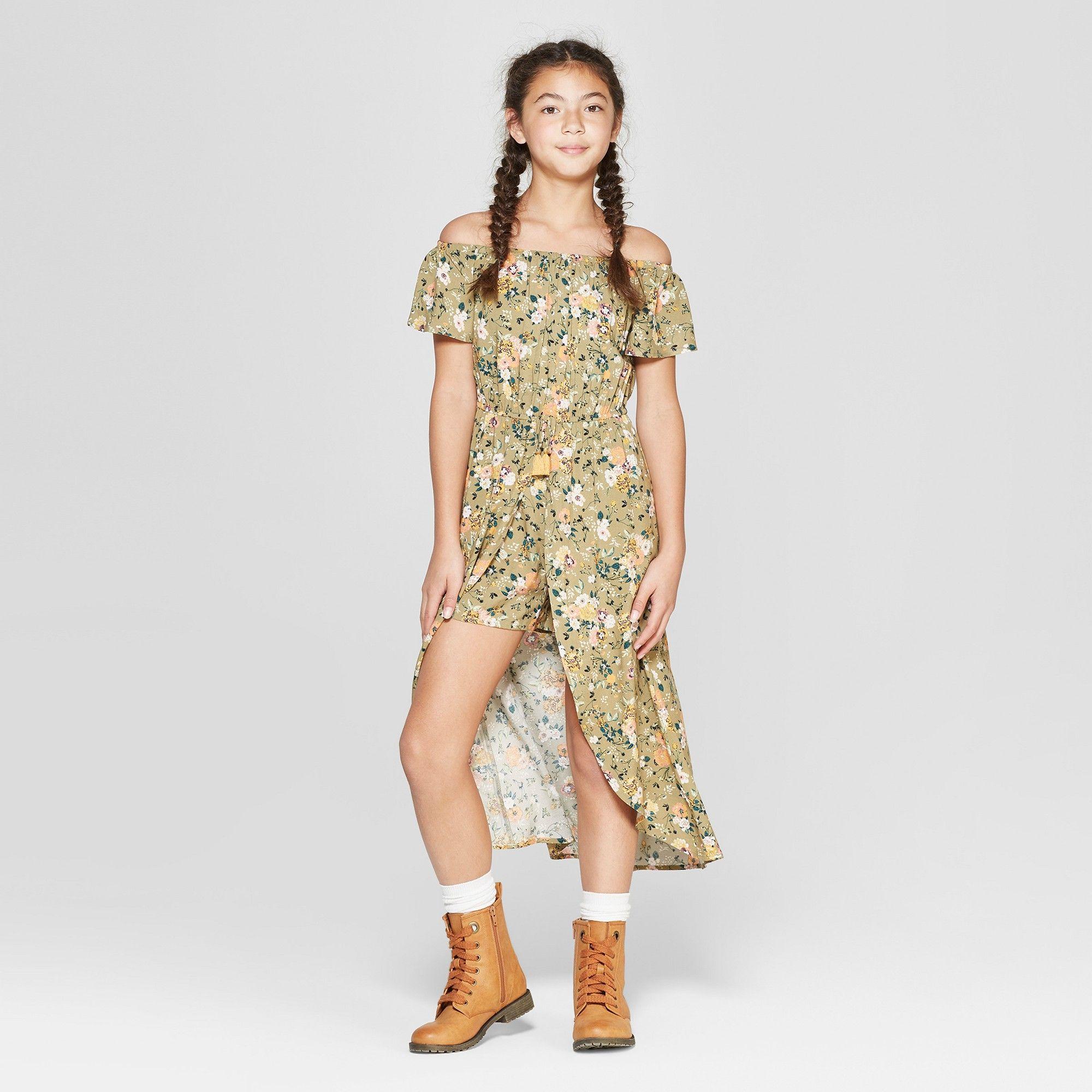 Girls Off The Shoulder Walk Thru Maxi Dress Art Class Olive L Green Art Dress Target Girls Maxi Dress [ 2000 x 2000 Pixel ]