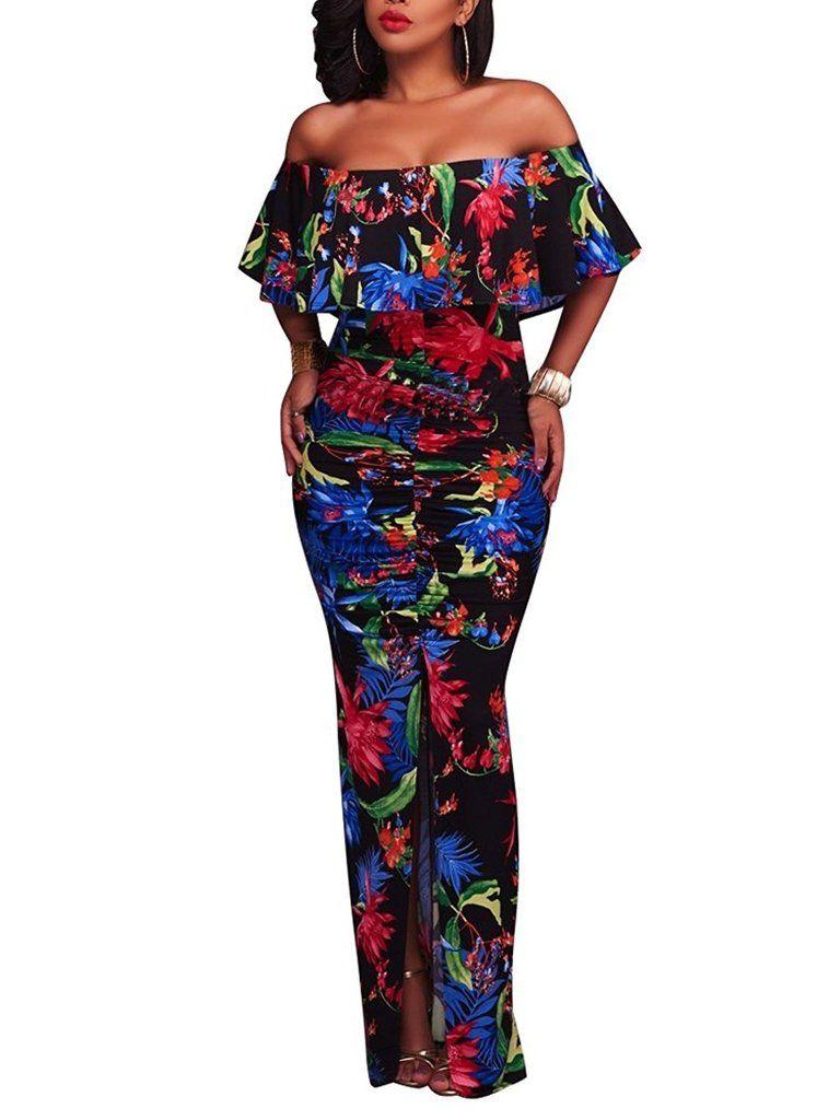 Women fashion floral off shoulder ruffle fishtail evening grown long