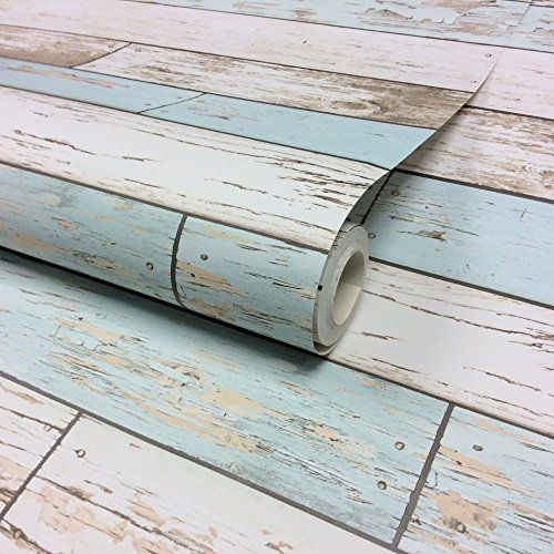 I Love WallpaperTM Rustic Wooden Plank Wallpaper Natural / White / Teal  (ILW980072) $50