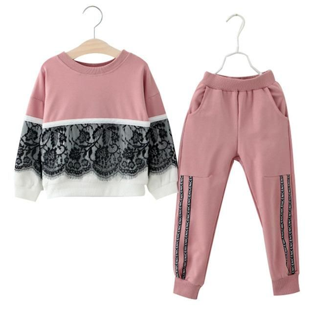 5030979ad Girl clothing set autumn winter kids clothes lace stitching long ...