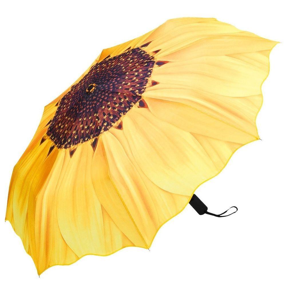 b1cf71cee16e Plemo Automatic Sunflower Umbrellas Windproof Compact Folding ...