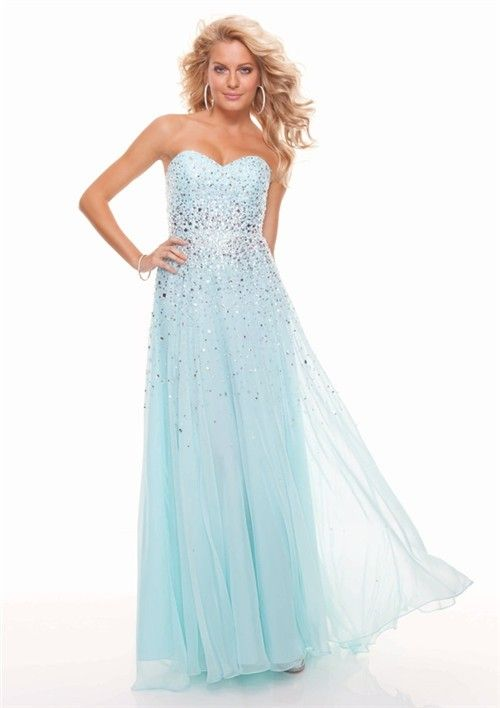 Sheath sweetheart long light blue chiffon prom dress with beading ...