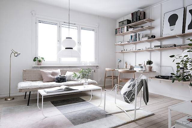 livingroom. workspace inspiration. simple shelving system