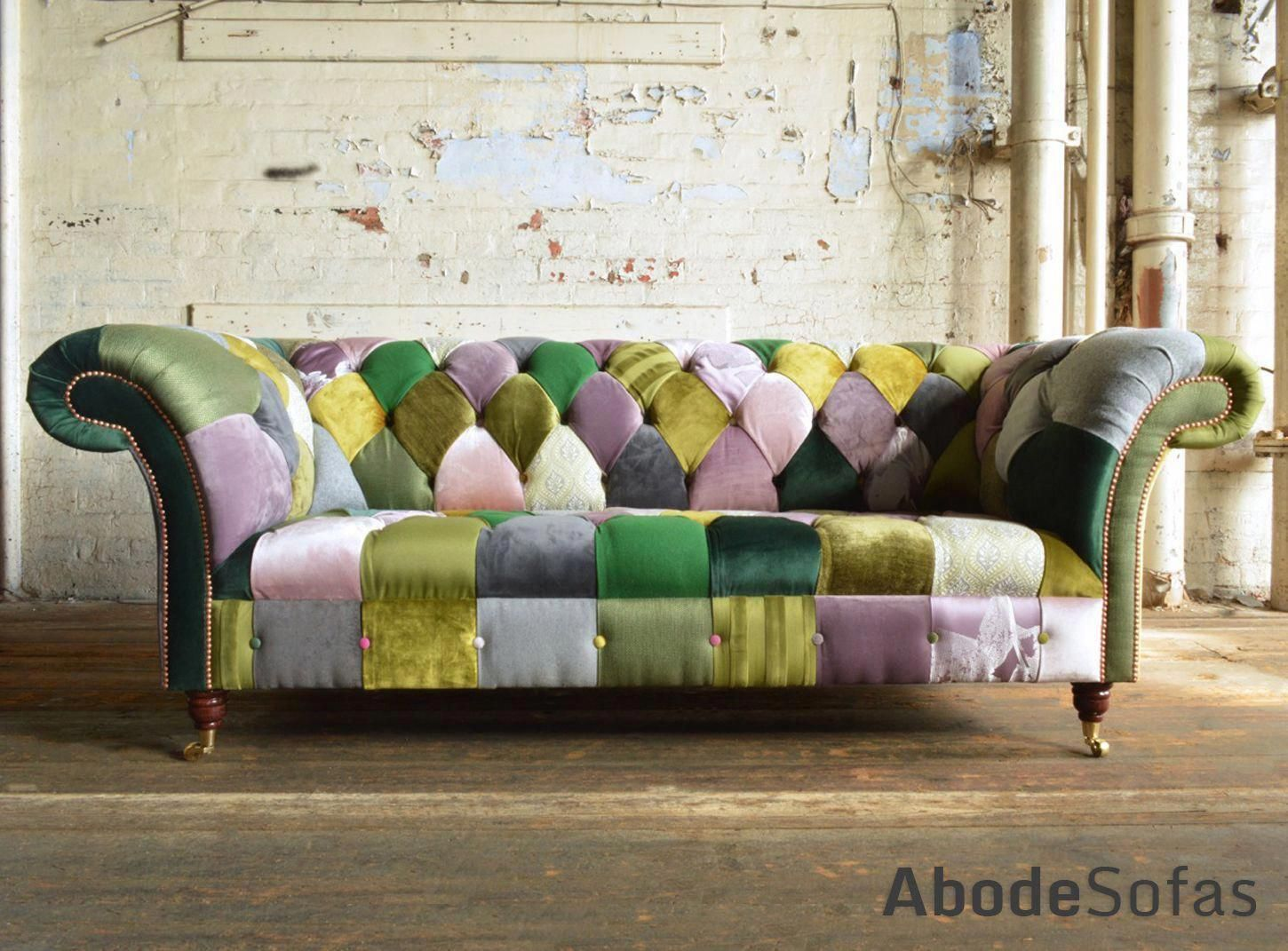 Modern British Handmade Bold Pink Green Patchwork Chesterfield Sofa Totally Unique Fabri Patchwork Chesterfield Sofa Patchwork Furniture Leather Corner Sofa