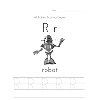 Letter R Tracing Page with Picture of a Robot | All Kids Network ...
