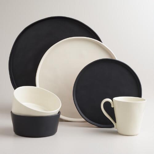 Black Organic Rimmed Dinner Plates Set of 6 | World Market & Black Organic Rimmed Dinner Plates Set of 6 | World Market | Home ...