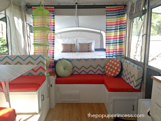 A Couple Of Fun Shower Curtains And A Long Cafe Rod Make Perfect Camper  Curtains.