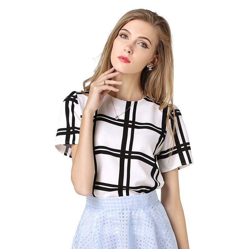 click to buy << women linen t-shirt short sleeve white plaid
