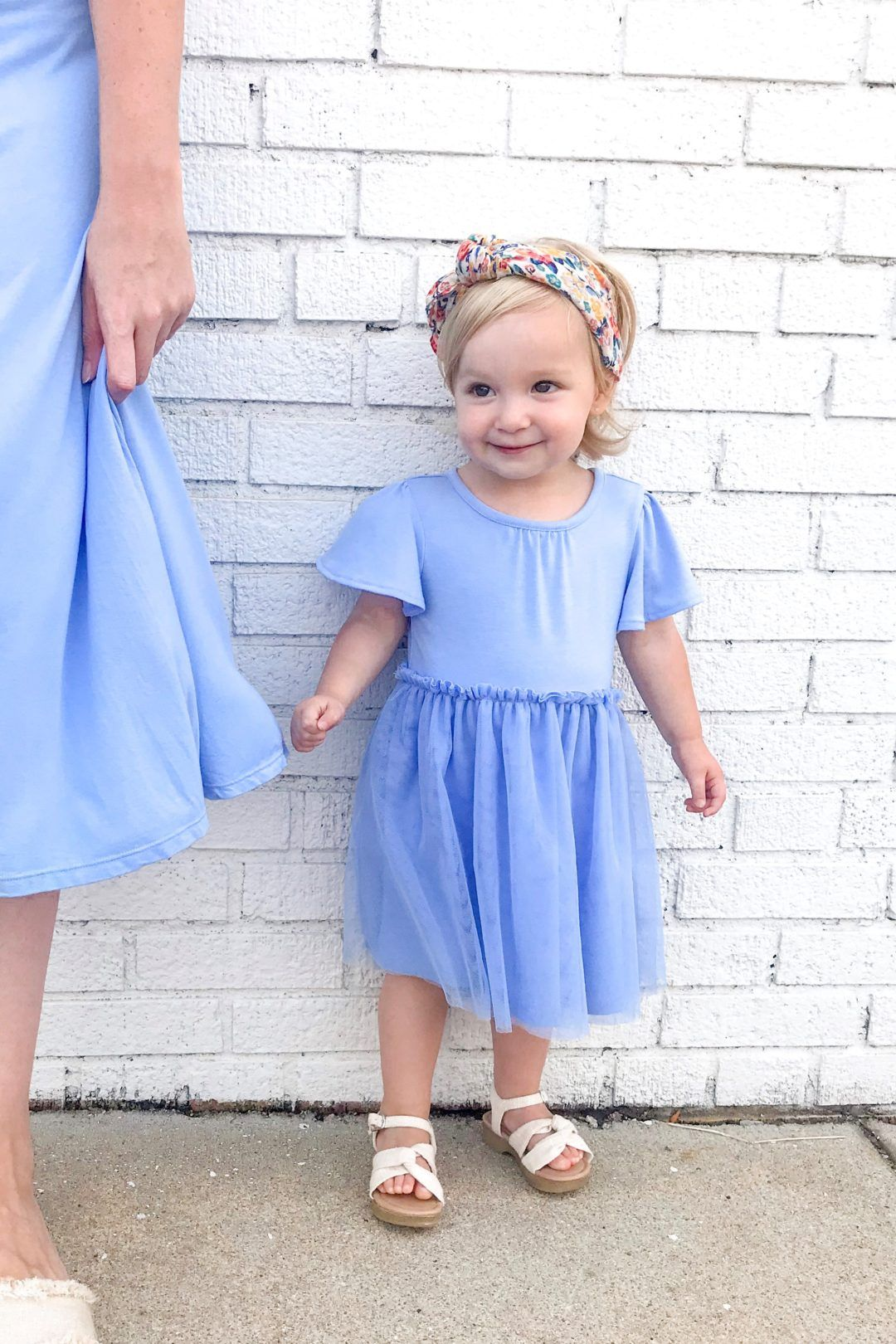 Matching Blue Jersey Dresses Looks Look