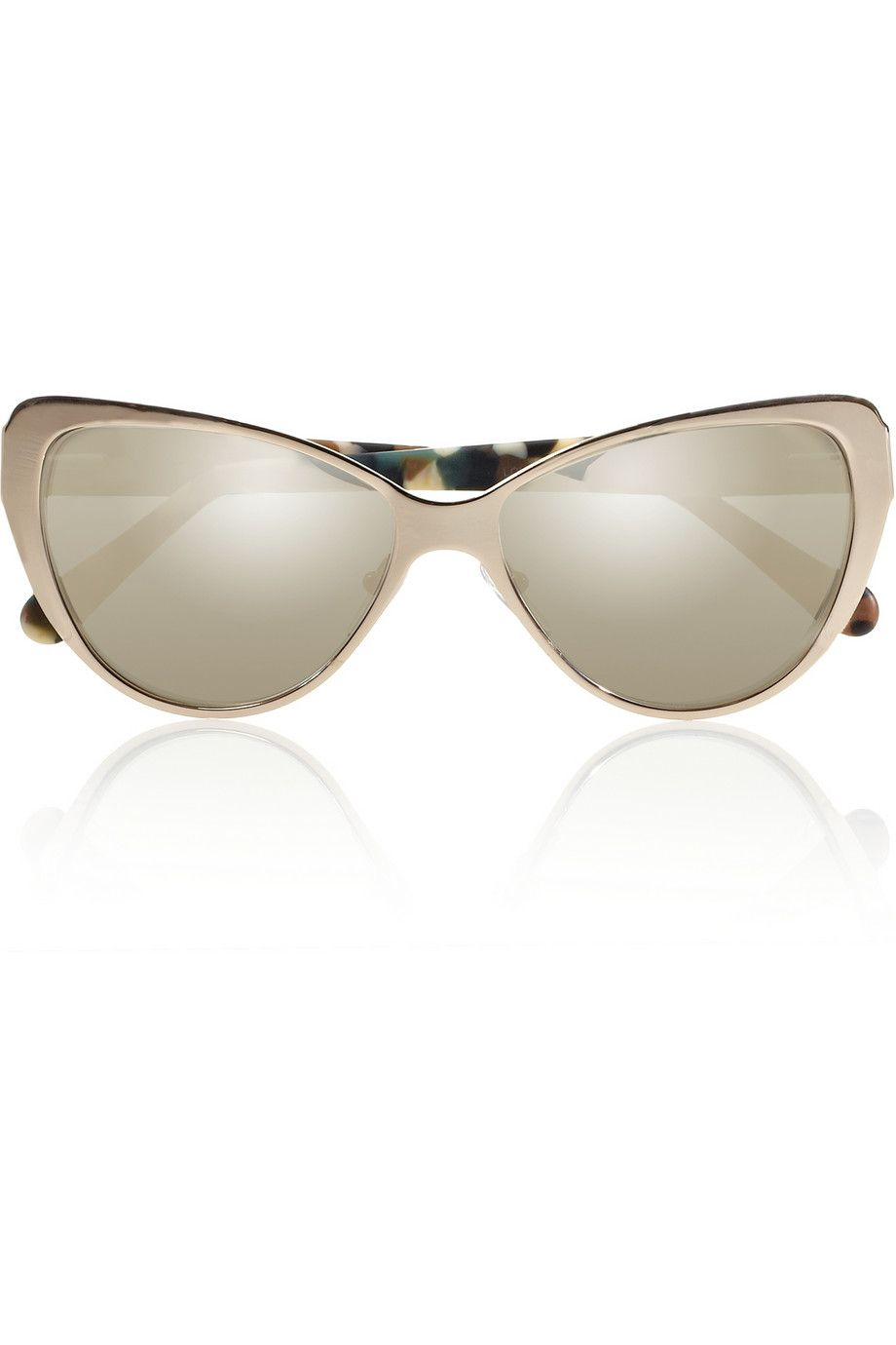 Prism|Capri cat eye metal and acetate mirrored sunglasses|NET-A-PORTER.COM