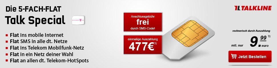 Talkline Talk Special Telekom mit 477,84€ Auszahlung *SIM ONLY*