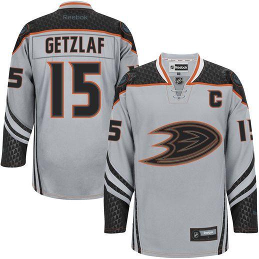 Reebok Ryan Getzlaf Anaheim Ducks Pewter Cross Check Premier Jersey #ducks #anaheim #nhlducks